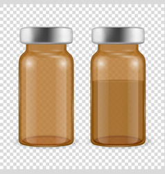 3d realistic brown bottles vaccine icon vector