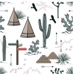 Adventure seamless pattern with wild desert nature vector