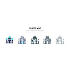 Angkor wat icon in different style two colored vector