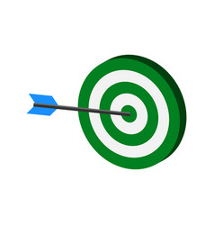 Arrow hitting target symbol flat isometric icon vector