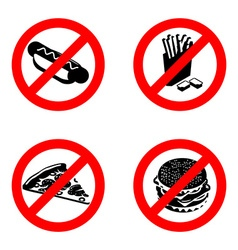 Ban fast food sign Stop unhealthy food It is vector