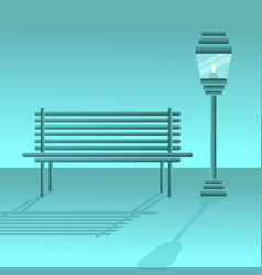 Bench with lantern vector