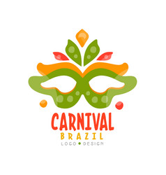 Brazil carnival logo design bright festive party vector