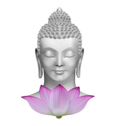 buddha face with pink lotus flower print vector image