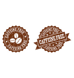 Caffeine free stamp seals with grunge texture in vector