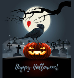 Card with evil pumpkin with raven on it vector