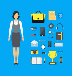 cartoon assemble businesswoman color set vector image