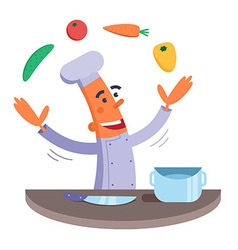 Cartoon chef juggles vegetables vector image