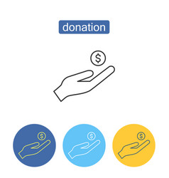 cash donation outline icons set vector image