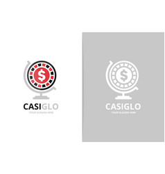 casino and globe logo combination chip vector image