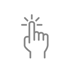 click with one finger line icon cursor pointer vector image