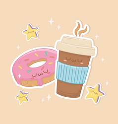 coffee in container plastic and donut kawaii vector image