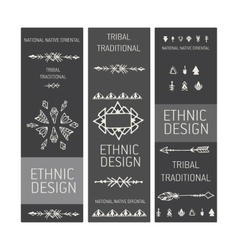 Collection of tribal boho folk vinatge tickets vector
