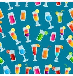 Colorful cocktail drink seamless pattern template vector image