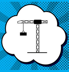 construction crane sign black icon in vector image