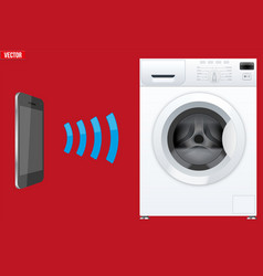 Controlling washing machine with smartphone vector