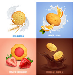 Cookies concept icons set vector