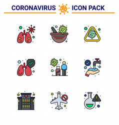 Covid19-19 icon set for infographic 9 filled line vector