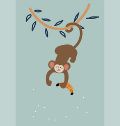 Cute cartoon monkey hanging down from a liana vector