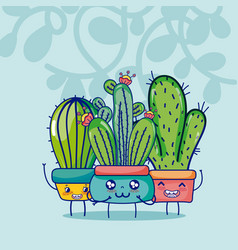 Cute houseplants kawaii cartoon vector
