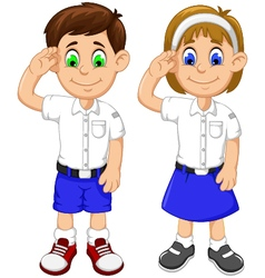 Cute two students cartoon respectful vector
