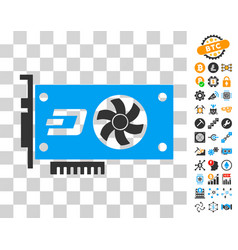 Dash video gpu card icon with bonus vector