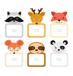 decorative head animal template frames vector image