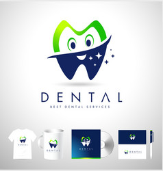Dental logo design corporate identiy vector