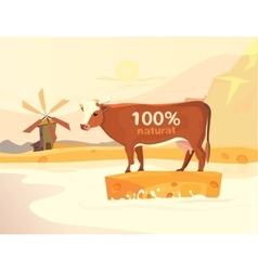 design with cow milk river and landscape vector image