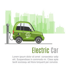 electric car ecological electromobile in green vector image