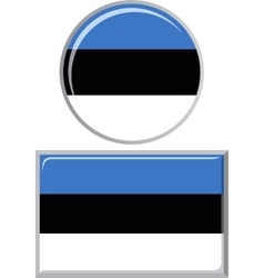 Estonian round and square icon flag vector