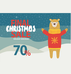 Final christmas sale holiday discount promotion vector