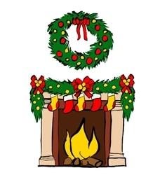 Fireplace with Christmas decoration vector image
