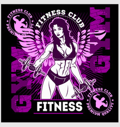 fitness club or center emblem with training woman vector image