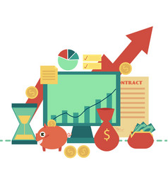 Flat business finance banking poster object vector