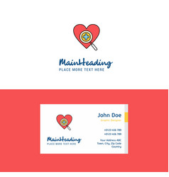 flat heart logo and visiting card template vector image