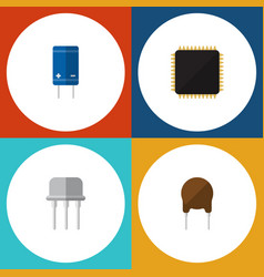flat icon electronics set of resist cpu triode vector image