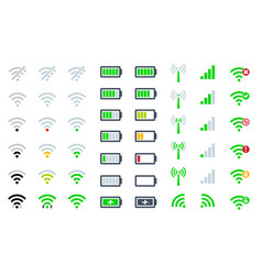 Flat mobile phone system icons wifi signal vector