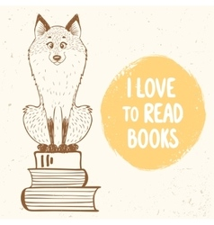 fox and books vector image vector image