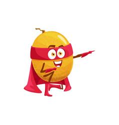 Fruit superhero melon super hero power cartoon vector