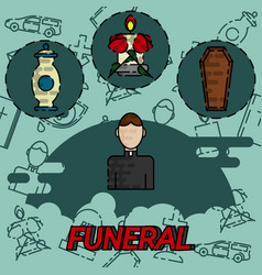 Funeral flat concept icons vector