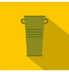 Green garbage tank with handles icon flat style vector