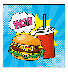 hambuerger with plastic soda cup and wow message vector image
