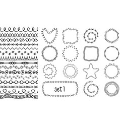 Hand drawn decorative brushes vector