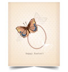 happy holiday easter day card vintage butterfly vector image