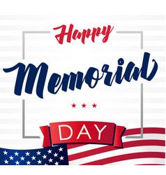 Happy memorial day usa flag light banner vector