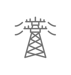 High voltage electric line pylon energy pole line vector