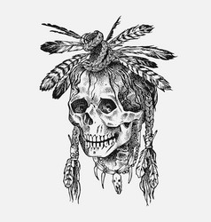 human skull dead native american indian vector image