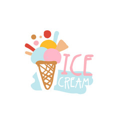 Ice cream logo template badge for restaurant bar vector