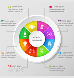 Infographic design template with winner icons vector